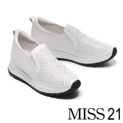 休閒鞋 MISS 21 率性時尚璀璨水鑽全真皮厚底休閒鞋-白