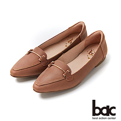bac愛趣首爾 - 簡約尖頭不對襯車鋒線平底包鞋-咖啡色