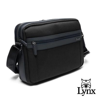 Lynx - 美國山貓進口牛皮mix防潑水質男多層收納側背包