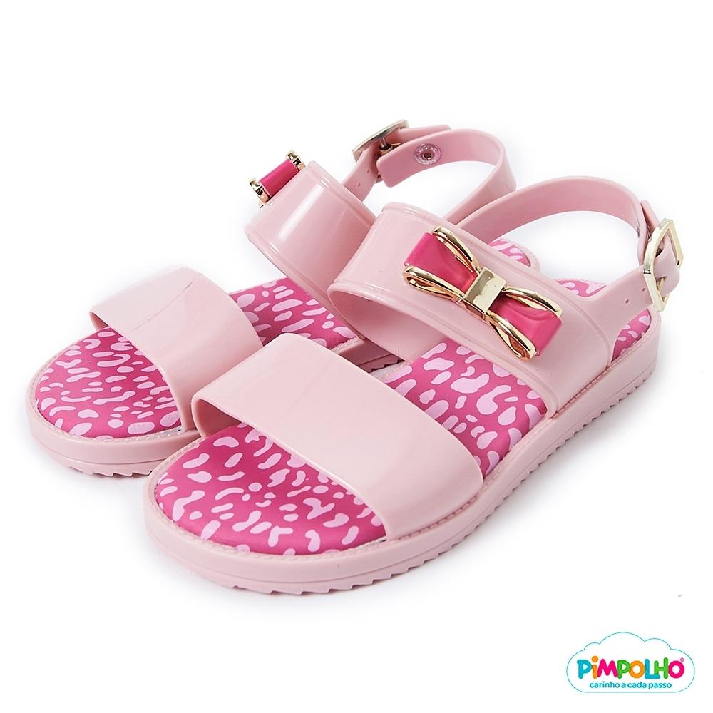 Pimpolho 豹紋蝴蝶結休閒涼鞋-童-粉紅