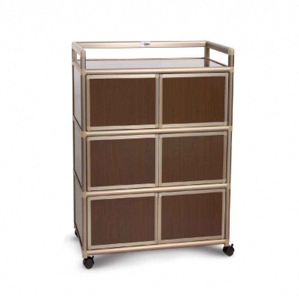 Cabini小飛象-黑桃木2.5尺鋁合金6門收納櫃73.5x50.8x115.3cm