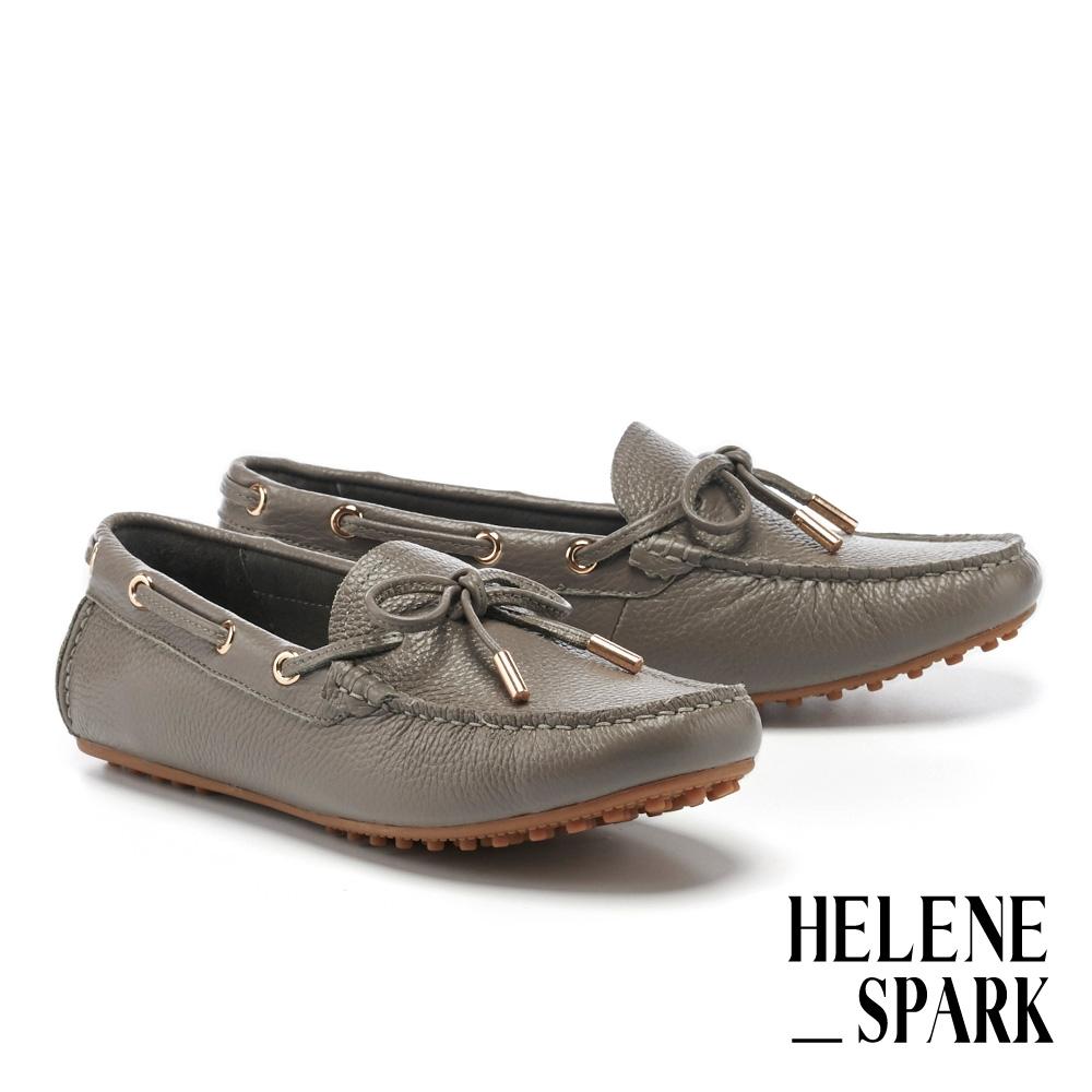 平底鞋 HELENE SPARK 簡約日常蝴蝶結全真皮樂福平底鞋-灰
