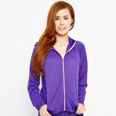 【FIVE UP】亮麗彩艷吸排抗UV風衣連帽外套-紫色