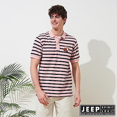 JEEP 時尚狐狸圖騰條紋短袖POLO衫-粉色