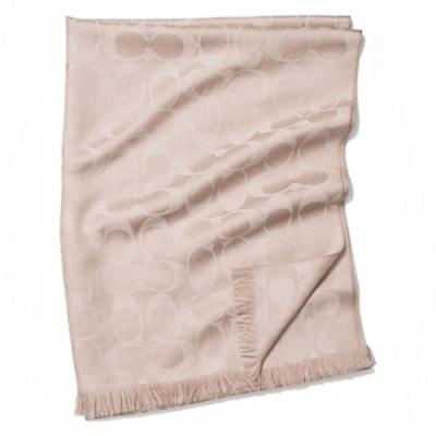 COACH 經典C LOGO羊毛流蘇絲巾圍巾-膚金(展示品)