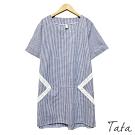 拼接蕾絲格紋洋裝 TATA-(L~XL)