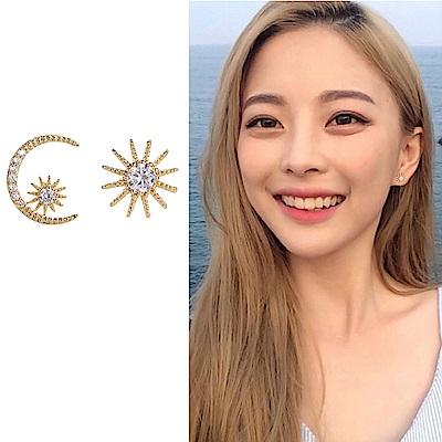 梨花HANA  韓國S925銀針不對稱日月太陽微鑲耳環