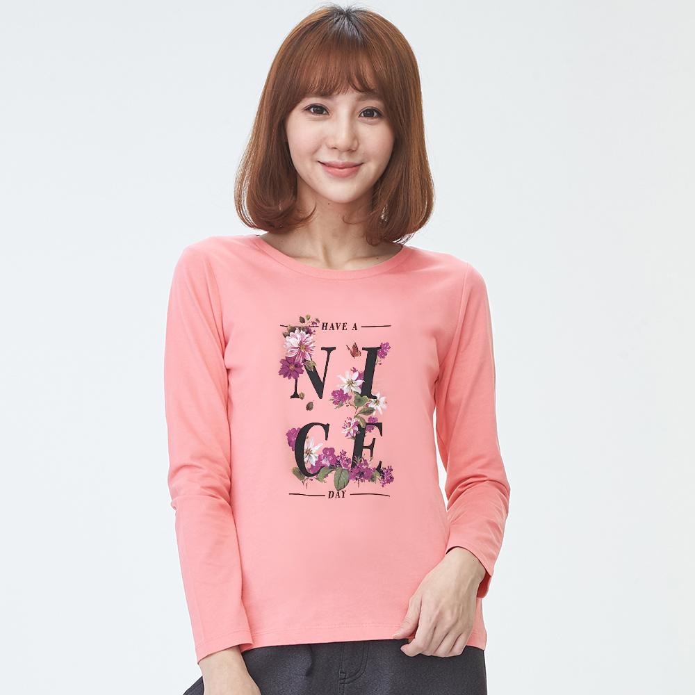 bossini女裝-印花長袖T恤03粉橘