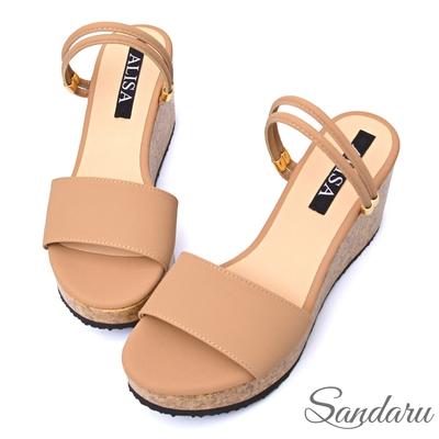 山打努SANDARU-涼鞋 渡假兩穿寬版厚底楔型涼鞋-粉