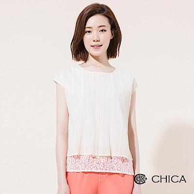 CHICA 優雅文青異材質拼接落肩上衣(3色)