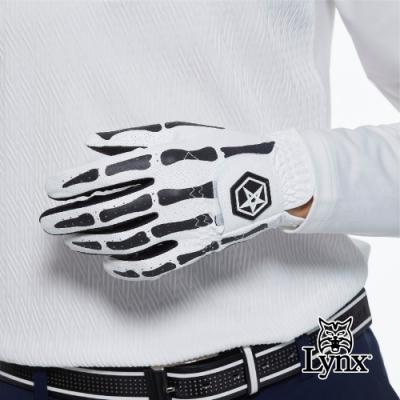 【Lynx Golf】Asher Death Grip系列男款防滑彈性骨紋花樣高爾夫左手手套-白色