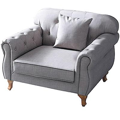 品家居 瑟尼法式灰貓抓皮革獨立筒單人座沙發椅-108x81x85cm免組
