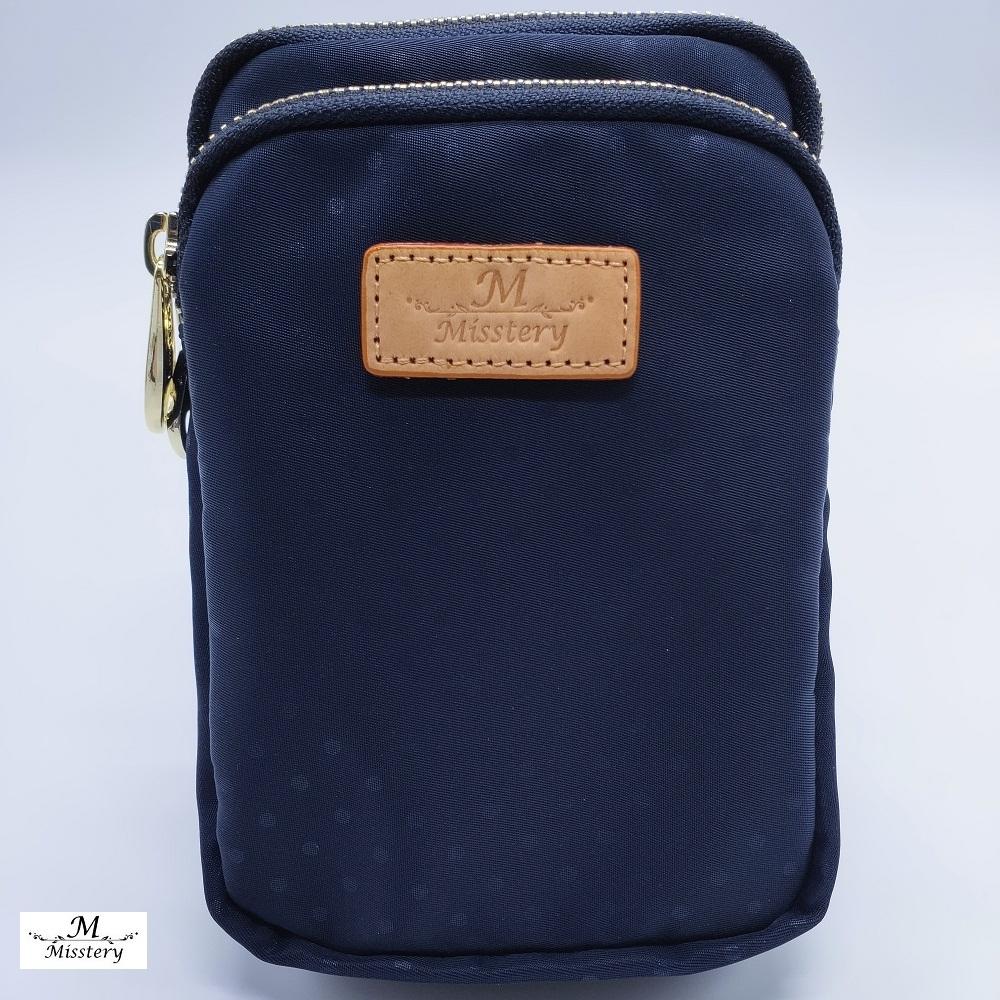 【Misstery】手機包圓點直立式手機包/腰包-藍(防潑水面料搭配頂級植鞣皮革)