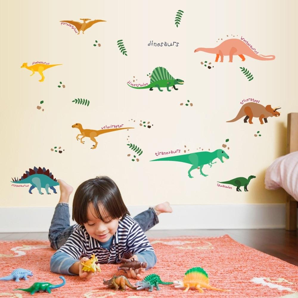 半島良品 DIY北歐風無痕壁貼 SK7071-多彩恐龍動物 50x70