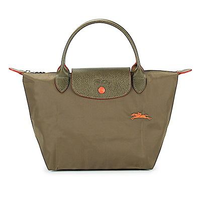Longchamp LE PLIAGE 奔馬刺繡款折疊小型尼龍水餃包(短提把/卡其綠色)