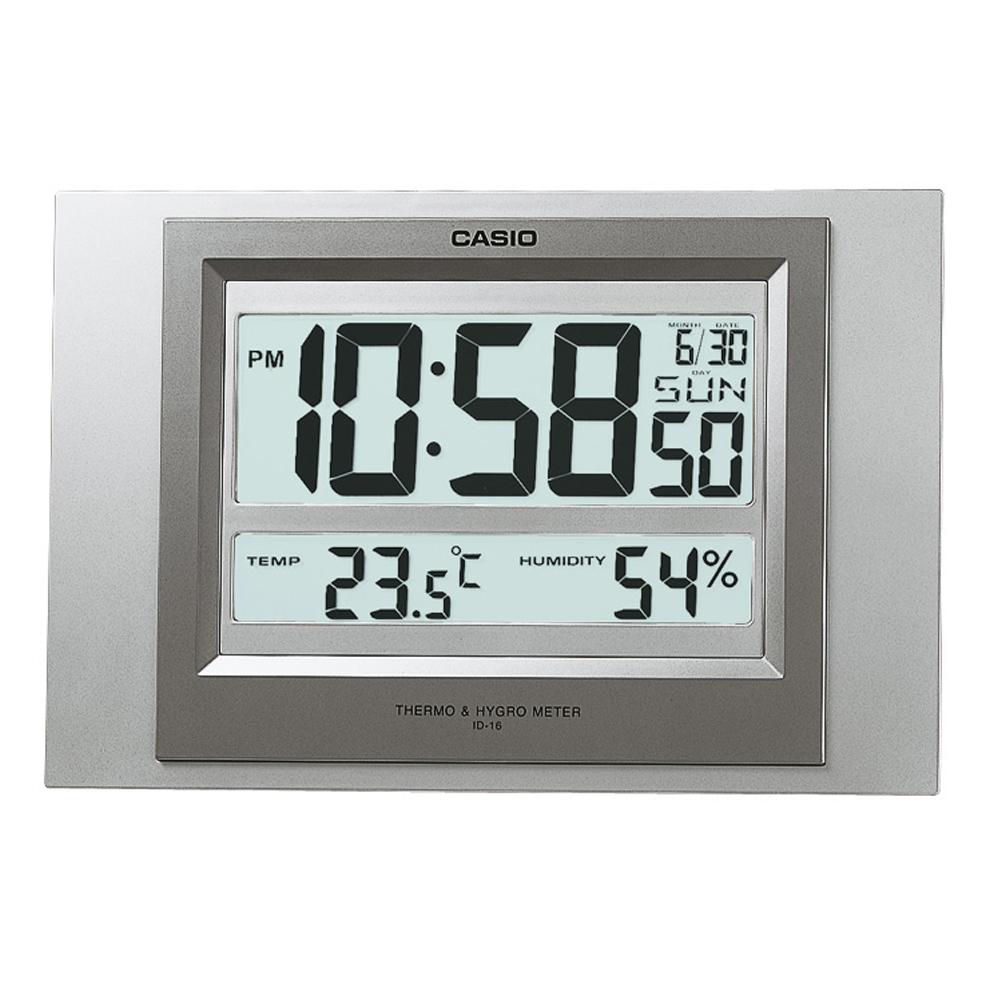 CASIO 數位溫度顯示掛鐘/座鐘兩用(ID-16-8)-銀灰色外殼