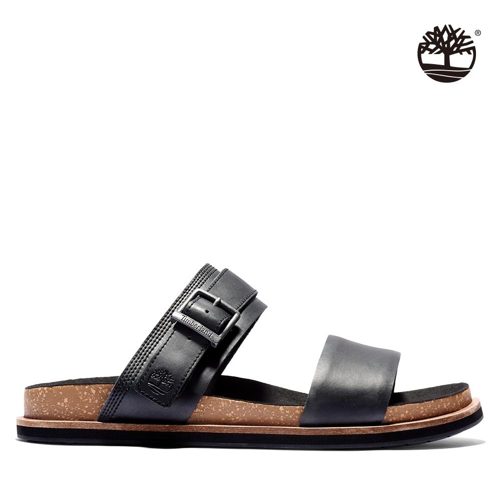 Timberland 男款黑色皮革休閒拖鞋|A2CET