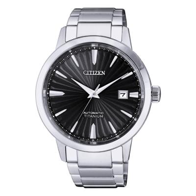 CITIZEN 光動能質感鈦金時尚機械手錶NJ2180-89H-黑X銀40mm
