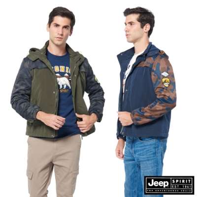 [時時樂限定]JEEP型男迷彩保暖休閒連帽外套-二色選