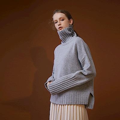 Bois White- 高領前短後長針織毛衣- 綠/灰