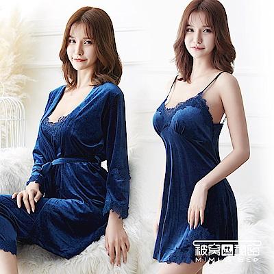 睡衣 金絲絨水溶花蕾絲四件組睡衣套裝。寶藍色 被窩的秘密