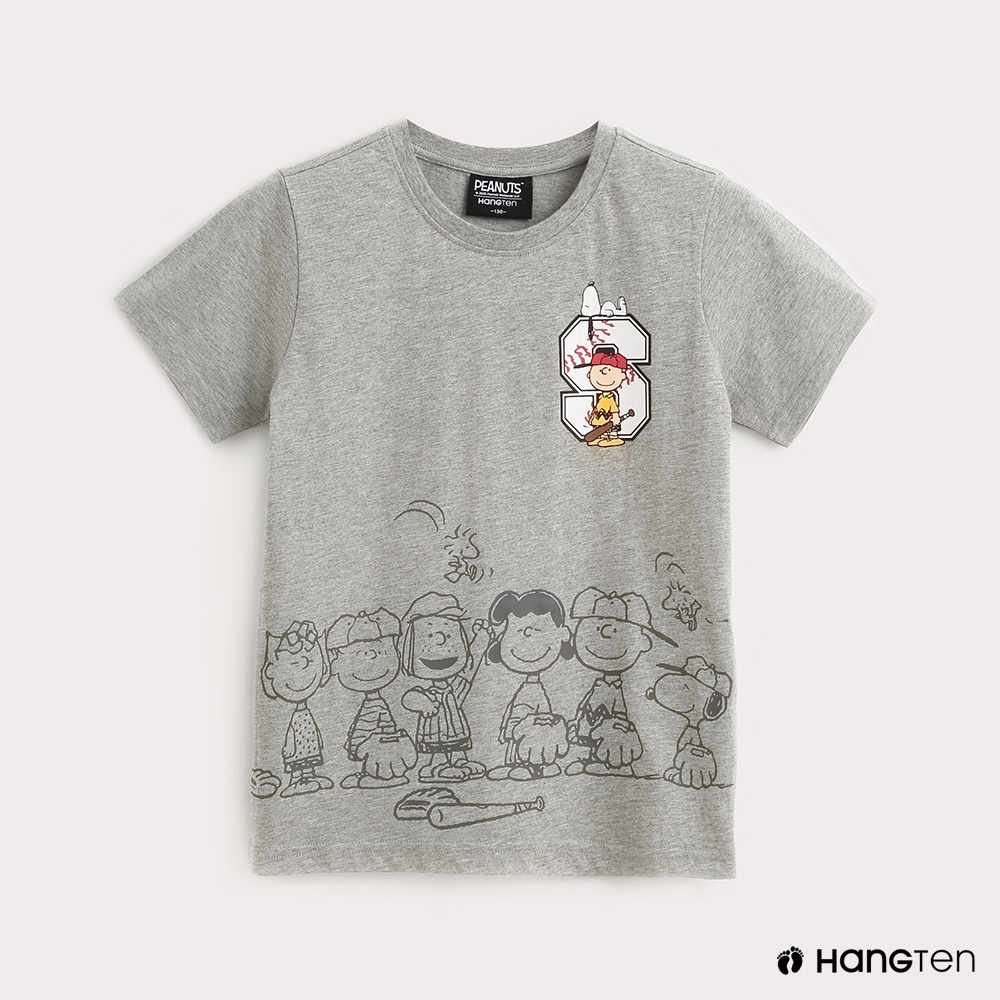 Hang Ten-Charlie Brown-童裝打棒球印花T恤-灰