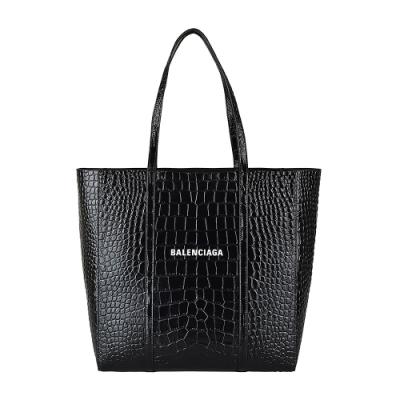 BALENCIAGA巴黎世家EVERYDAY白字LOGO鱷魚紋牛皮肩背包(黑)