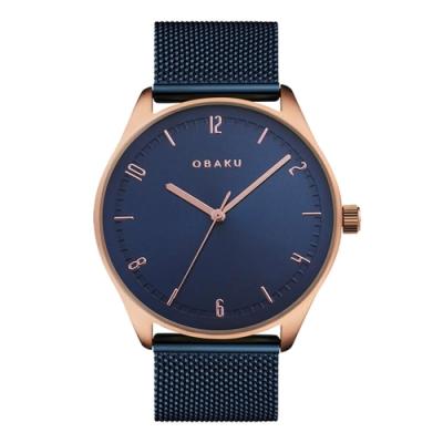 OBAKU秋日時尚氣質腕錶-藍X玫瑰金(V235GXVLML)/38mm