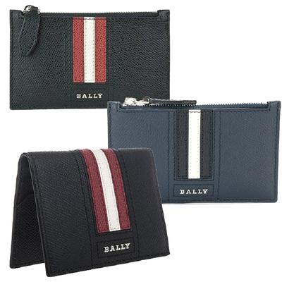 [時時樂限定] BALLY 金屬LOGO經典條紋防刮皮多卡零錢包(3色/任選)