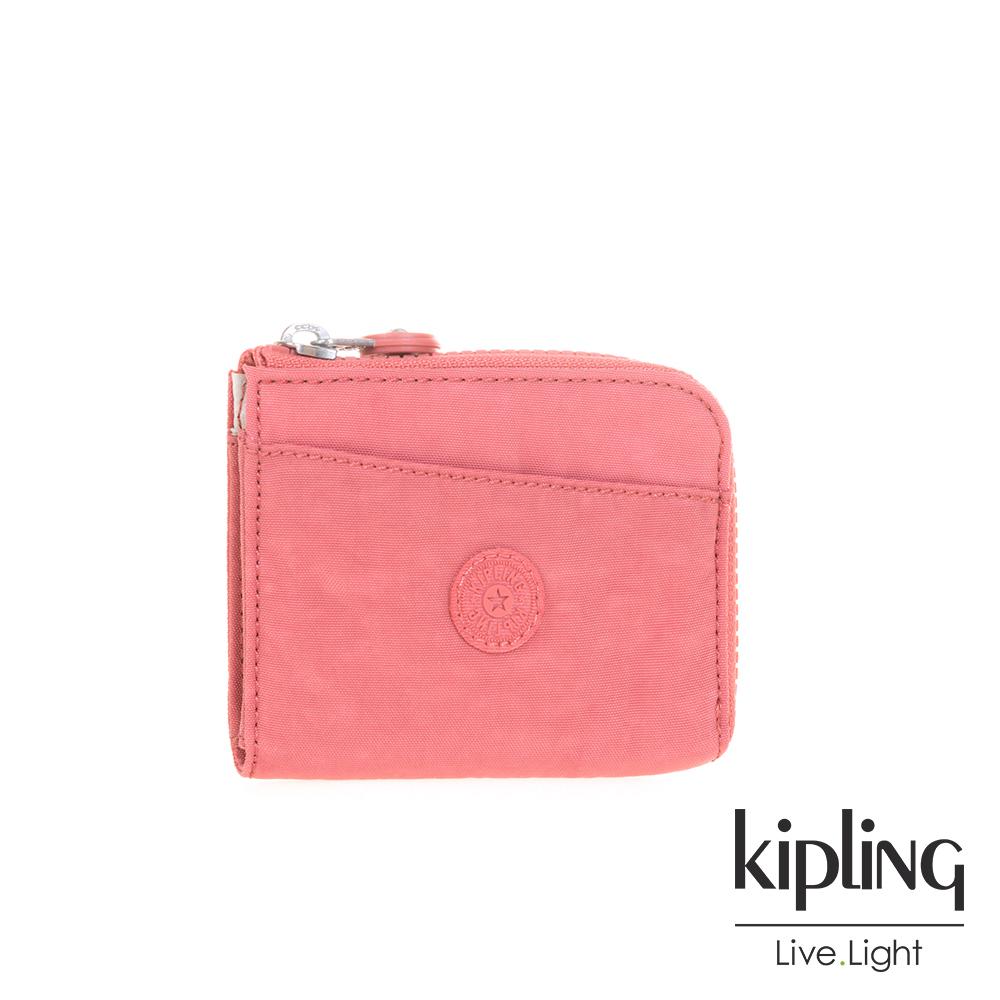 Kipling微甜薔薇粉素面短夾-AWATIK