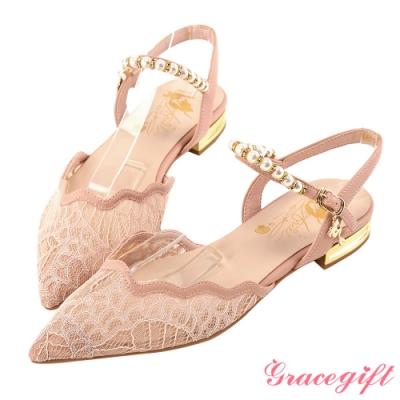 Disney collection by gracegift小美人魚珍珠繫帶尖頭鞋 粉