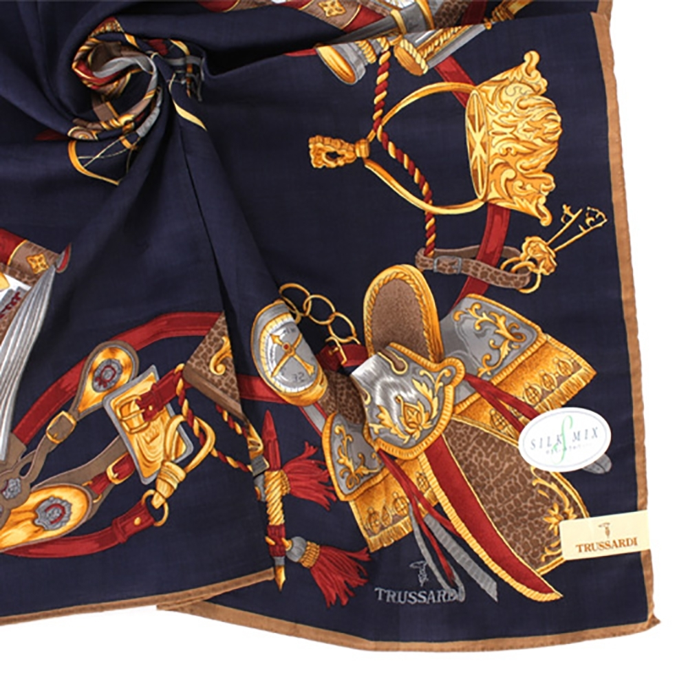 TRUSSARDI 皇家回憶錄混棉帕巾(藍色)