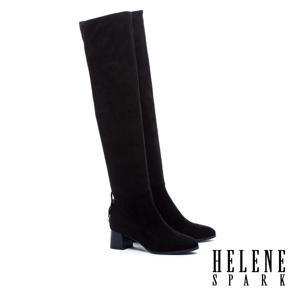 長靴 HELENE SPARK 極簡摩登氣勢異材質過膝高跟長靴-黑