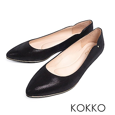 KOKKO - 優雅弧線尖頭點鑽真皮楔型鞋-墨黑