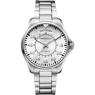 Hamilton KHAKI AVIATION 飛航運動玩家機械腕錶-銀/42mm