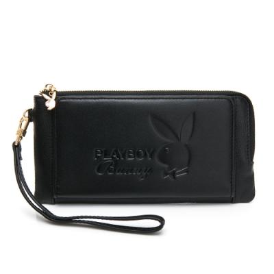 PLAYBOY-  壓扣長夾附手挽帶 都會質感系列 -黑色
