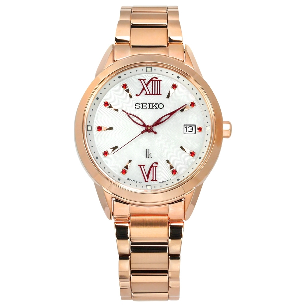 SEIKO 精工 限量 LUKIA 太陽能 珍珠母貝 不鏽鋼手錶-銀白x鍍玫瑰金/34mm