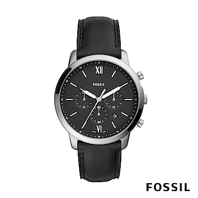 FOSSIL NEUTRA CHRONOGRAPH 黑色皮革男錶 44mm FS5452