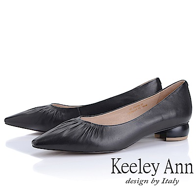Keeley Ann慵懶盛夏 小資女抓皺造型圓跟包鞋(黑色)