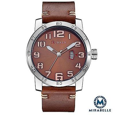 CURREN 卡瑞恩 數字大錶盤 撞色日期皮革男錶 棕帶棕面45mm