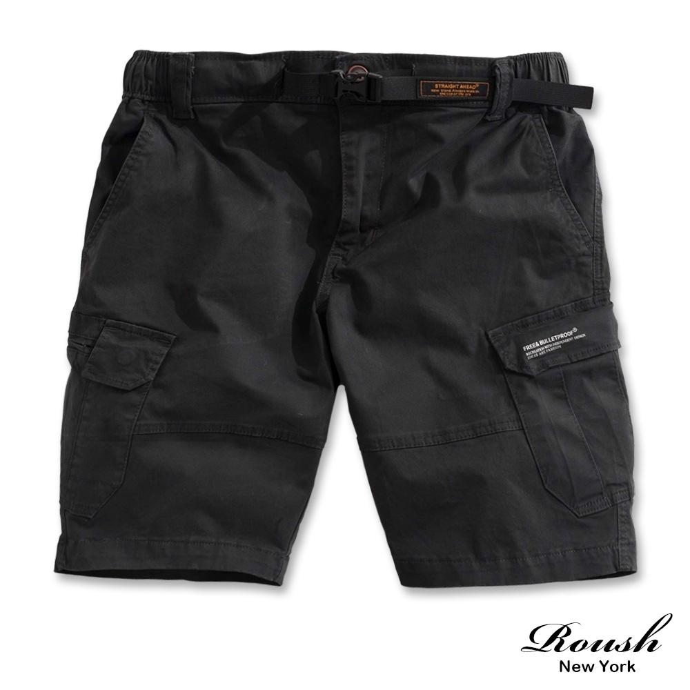 Roush 扣帶設計雙口袋重磅水洗短褲(5色)