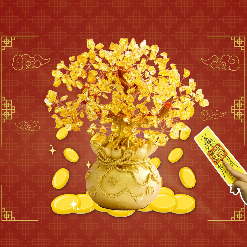 【玄翊閣】居家擺飾水晶招財樹(中號/贈招財靈符)