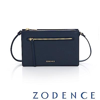 ZODENCE ERATO系列 進口彩色牛皮拉鍊皮夾包(大)藍