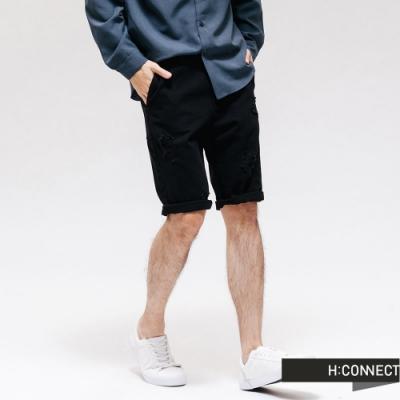 H:CONNECT 韓國品牌 男裝  - 簡約刷破牛仔短褲 - 藍