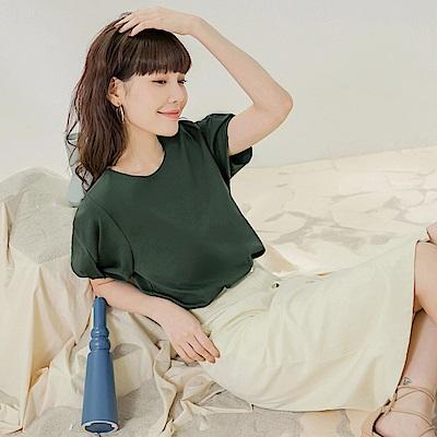 純色高含棉簡約花苞扭結短袖上衣-OB嚴選