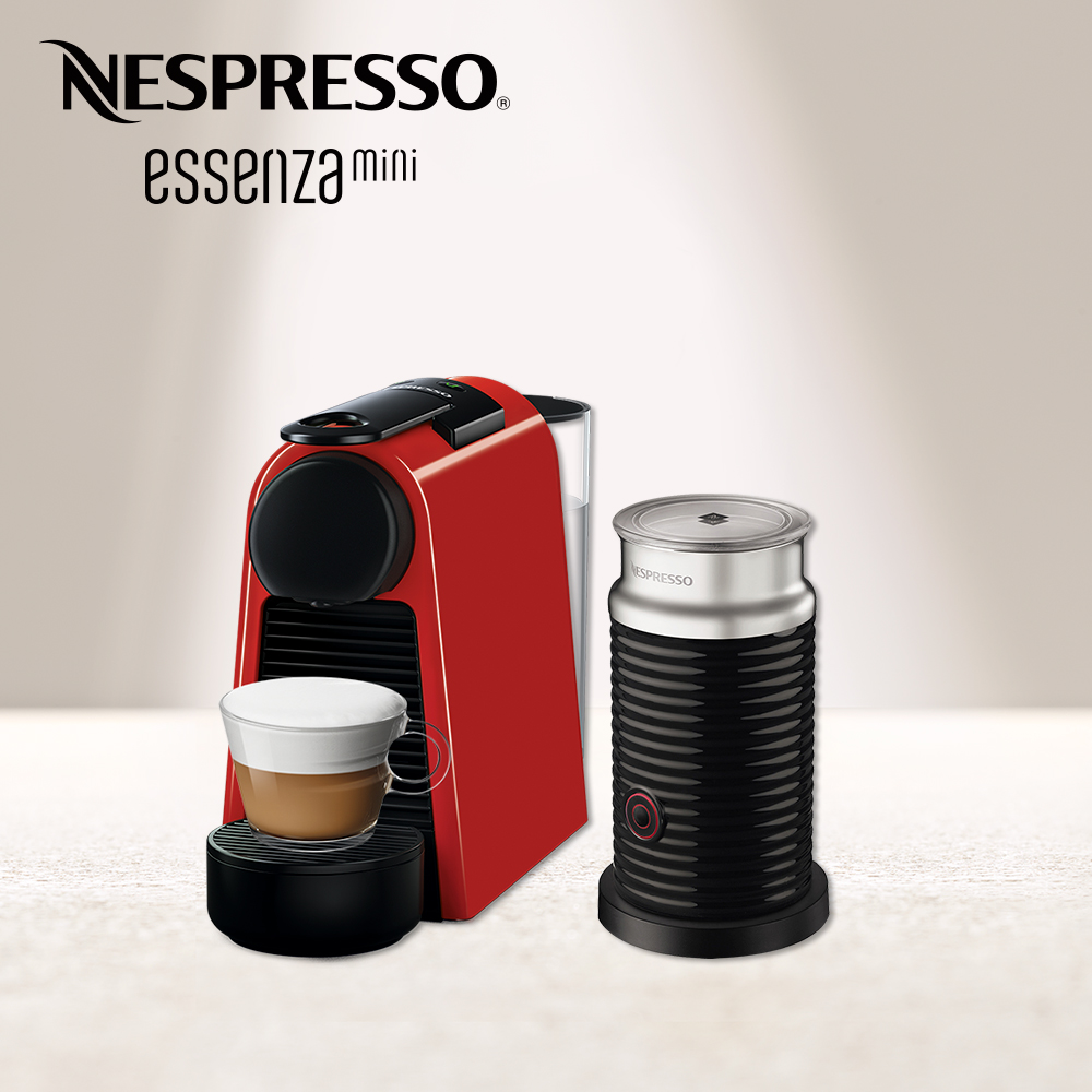 Nespresso 膠囊咖啡機 Essenza Mini 寶石紅 黑色奶泡機組合