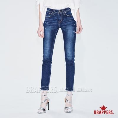 BRAPPERS 女款 新美腳ROYAL系列-中低腰彈性褲口不收邊七分褲-藍