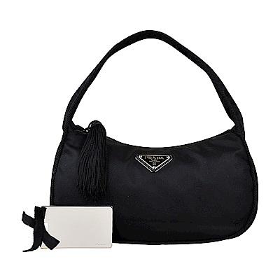 PRADA經典銀三角鐵牌LOGO尼龍流蘇造型拉鍊手提包(黑/附雙面鏡) @ Y!購物