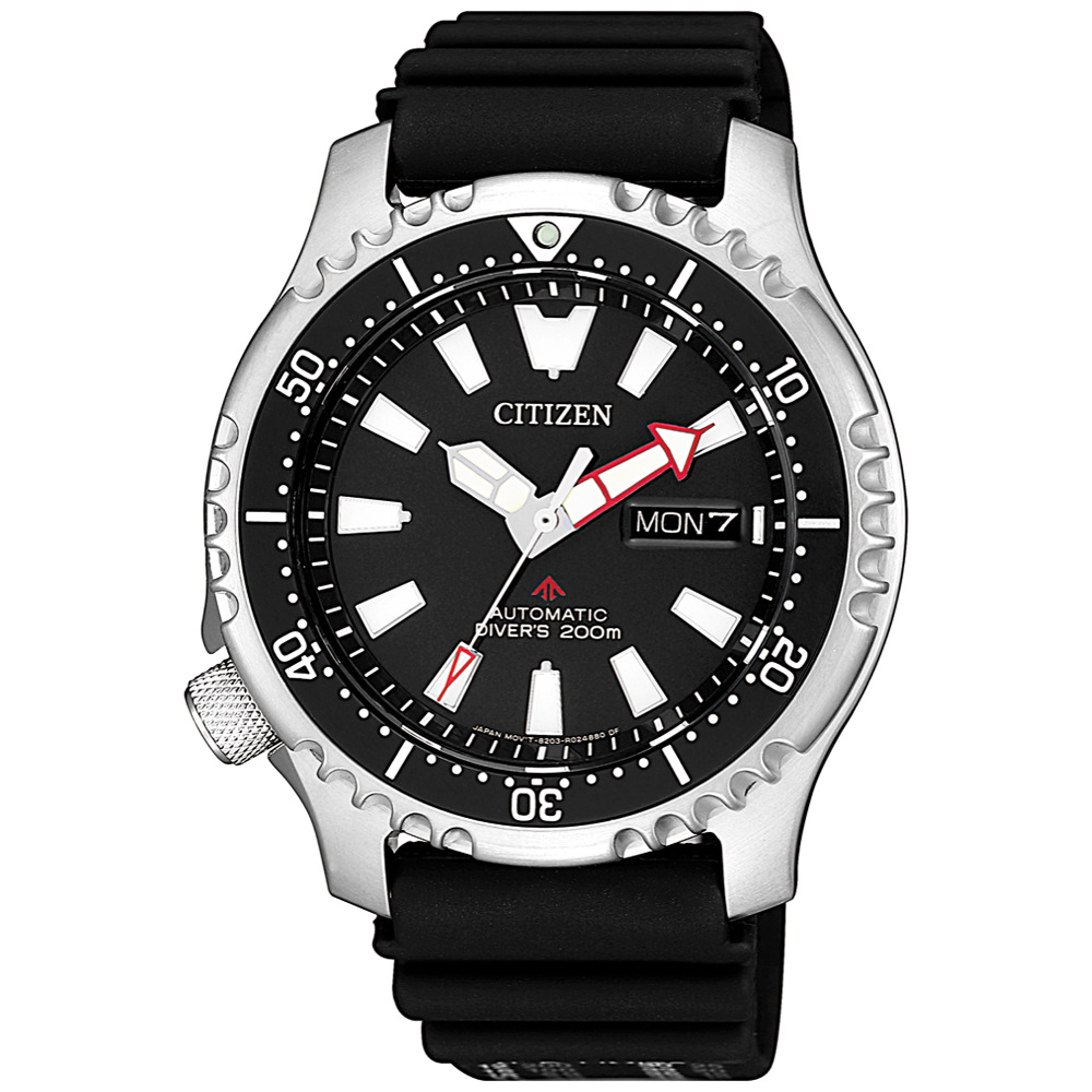 CITIZEN 星辰 運動200米潛水機械錶 NY0080-12E-黑/42mm