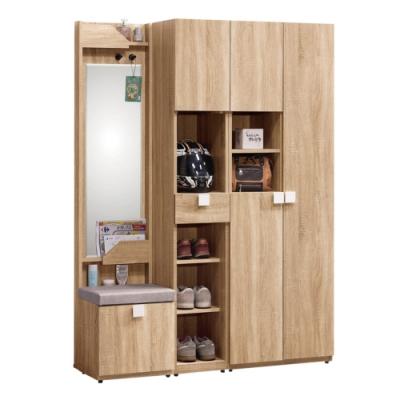 文創集 威爾比4.3尺高鞋櫃(二色+穿衣鏡+穿鞋椅)-130x40x180cm免組